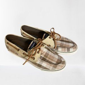 Sperry Neutral Plaid Boat Shoes Sz 9 Like New